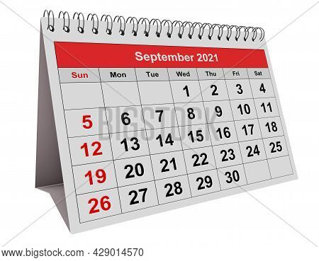 One Page Of The Annual Monthly Calendar - September 2021