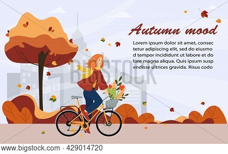 Hello Autumn, Banner. Happy Young Girl Rides A Bike In The Park, City Background. Healthy Lifestyle