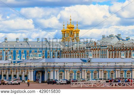 Pushkin, Russia - June 28, 2019: Catherine Palace Is A Rococo Palace Located In The Town Of Tsarskoy
