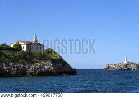 View Of Santander Bay Lighthouses, La Magdalena Peninsula Lighthouse And Mouro Island Lighthouse, Sa