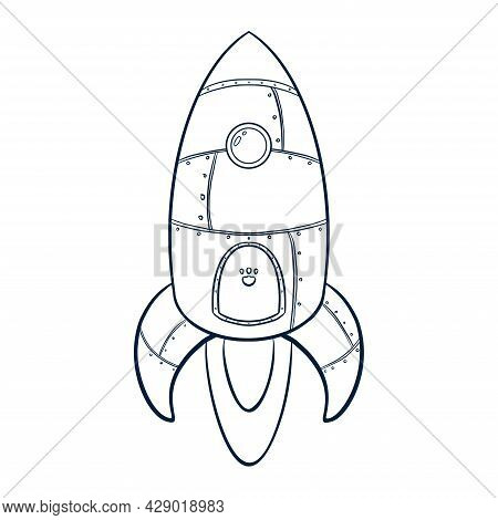 Line Art Rocket Icon. Hand Drawn Cartoon Space Ship Icon. Rocket Launch Sketch Suitable For Business