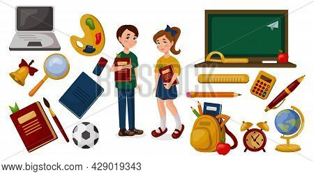 School Supplies On A White Background, Schoolboy And Schoolgirl - Vector Illustration