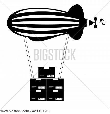 Airmail Service Delivering Parcels Illustration. Post Mail Airship Delivering Parcels By Air Black O