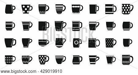 Mug Icons Set Simple Vector. Coffee Cup. Steam Hot Mug