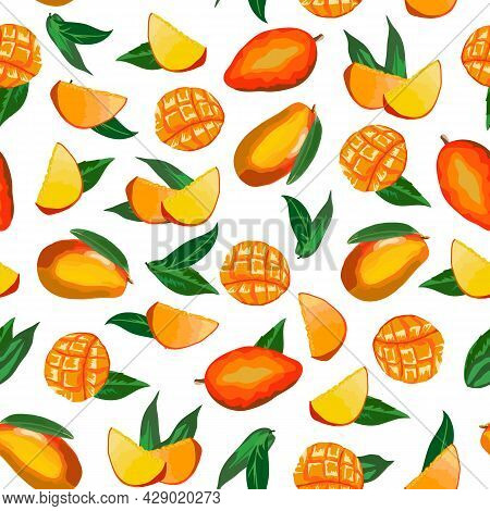 Mango In Color Vector Pattern.whole And Cut Mango On White Background In Color Vector Pattern.