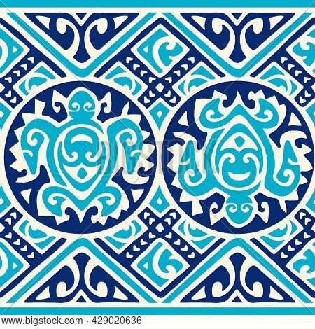 Tribal Tropical Art Pattern Of Indigenous Hawaiian And Polynesian Culture With Honu Turtles