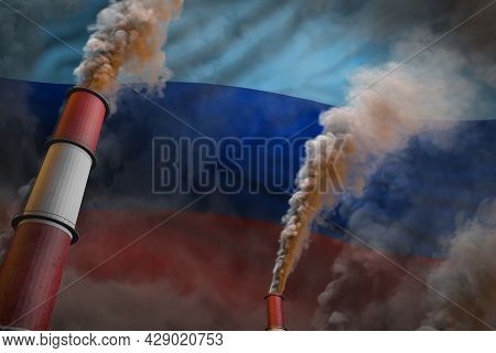 Pollution Fight In Luhansk Peoples Republic Concept - Industrial 3d Illustration Of Two Huge Factory