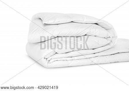 Folded Soft White Blanket, Bedspread Or Duvet For A Comfortable Sleep. White Blanket Folded On A Whi