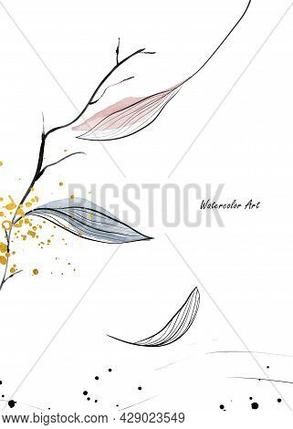 Watercolor Art Invitation Card Of Fall Natural Gentle Leaves Branches Decorated With Gold Drops. Art