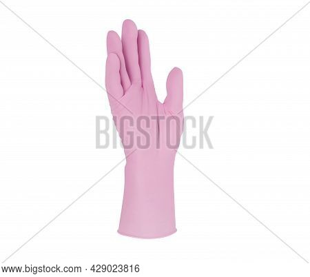 Medical Nitrile Gloves.two Pink Surgical Gloves Isolated On White Background With Hands. Rubber Glov
