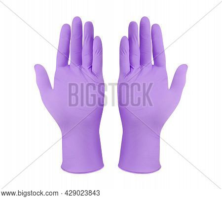 Medical Nitrile Gloves. Two Purple Surgical Gloves Isolated On White Background With Hands. Rubber G