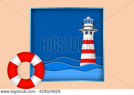 Lifebuoy And Lighthouse In Sea Waves. Color Lifebuoy And Blue Ocean Background