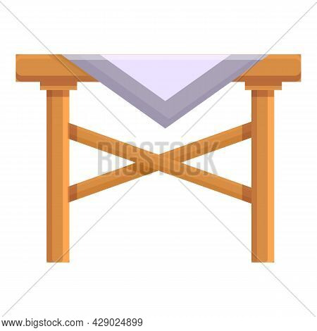 Picnic Table Icon Cartoon Vector. Wood Furniture. Garden Table