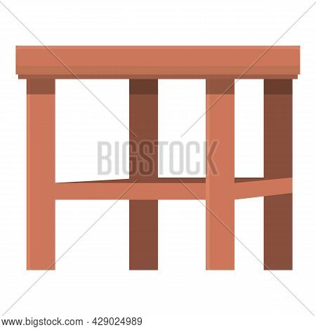 Wood Backless Chair Icon Cartoon Vector. Outdoor Wooden Furniture. Beach Terrace