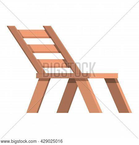Wooden Beach Chair Icon Cartoon Vector. Wood Chaise Lounge. Summer Deck