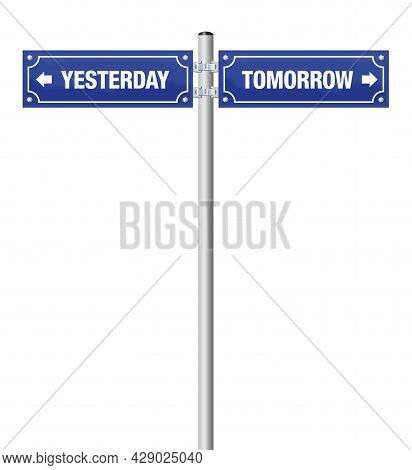 Yesterday And Tomorrow, Symbol For Past And Future, For History, Evolution, Progress, Development An
