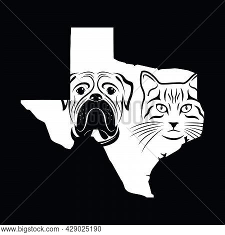 Texas Pet Design. Cat Head And Dog Head In Texas Map. Vector