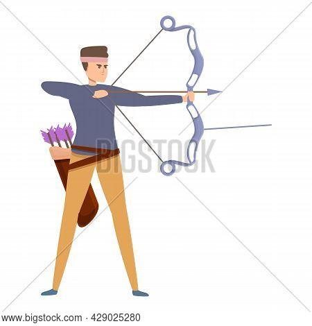 Sport Archer Icon Cartoon Vector. Bow Arrow. Target Game