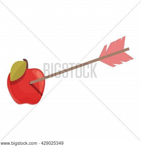 Apple Arrow Target Icon Cartoon Vector. Archery Bow. Aim Success