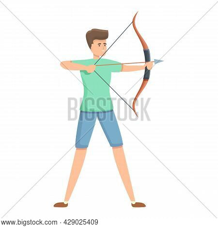 Young Archer Icon Cartoon Vector. Archery Man Game. Sport Target