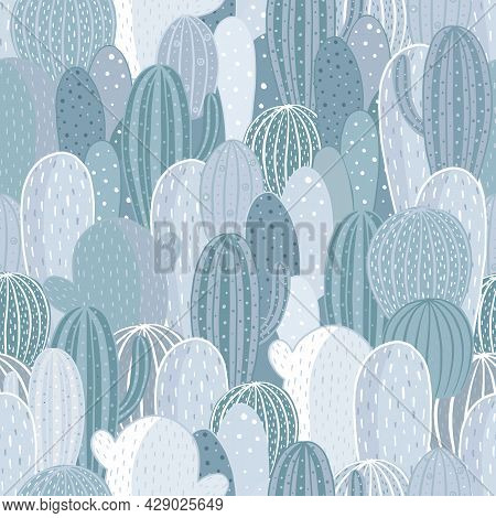 Seamless Pattern Cactus. Vector Texture For Textile, Wrapping Paper, Packaging.
