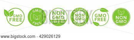 Non Gmo Labels. Gmo Free Icons. Healthy Food Concept. Organic Cosmetic. No Gmo Design Elements For T