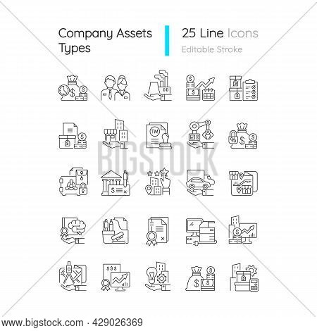 Business Assets Linear Icons Set. Company Owned Items. Plants Ownership. Resources For Productivity.