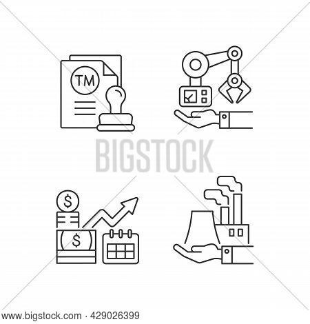 Long Term Business Investments Linear Icons Set. Machinery Owning And Plants Ownership. Customizable