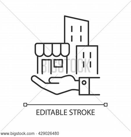 Building Ownership Linear Icon. Real Estate Business. Hand Holds Architectural Structures. Thin Line