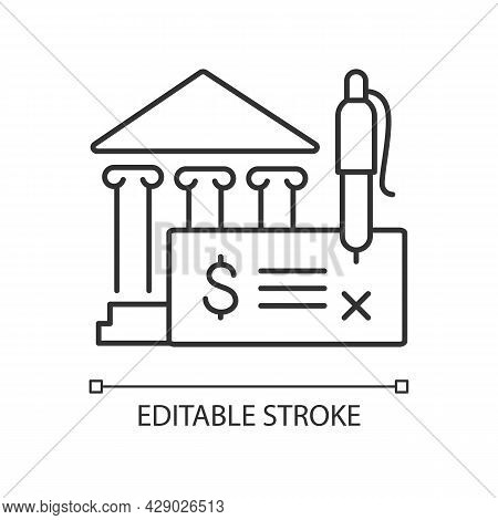 Bank Draft Linear Icon. Payment Providing. Guaranteeing Funds. Clearing House. Thin Line Customizabl