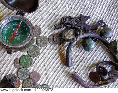 Adventurers, An Old Map, Ancient, Antique Jewelry, Archeology, Black Archeology, Burlap, Compass, Co