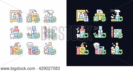 Reusable Products Light And Dark Theme Rgb Color Icons Set. Eco Friendly Package For Cosmetics. Isol