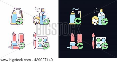 Refill And Reuse Light And Dark Theme Rgb Color Icons Set. Toothpaste And Brush. Eco Friendly Packag