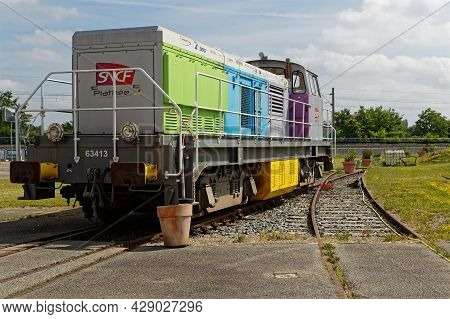 Mulhouse, France, June 26, 2021 : Oudoors. Cité Du Train (train City), Formerly Named French Railway