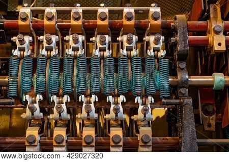 Mulhouse, France, June 26, 2021 : Details Of An Engine In Cité Du Train (train City), Formerly Named