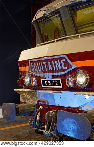 Mulhouse, France, June 26, 2021 : Electric Locomotive. La Cité Du Train (train City), Formerly Named