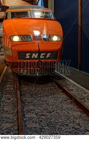 Mulhouse, France, June 26, 2021 : French High Speed Train In La Cité Du Train (train City), Formerly