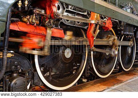 Mulhouse, France, June 26, 2021  Speeding Wheels In Cité Du Train (train City), Formerly Named Frenc