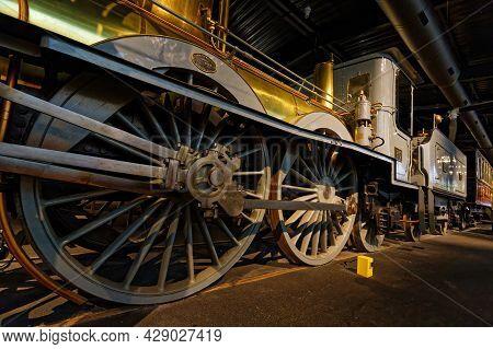 Mulhouse, France, June 26, 2021 : Wheels. La Cité Du Train (train City), Formerly Named French Railw