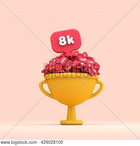 Thank You 8k Social Media Followers Celebration Trophy. 3d Render