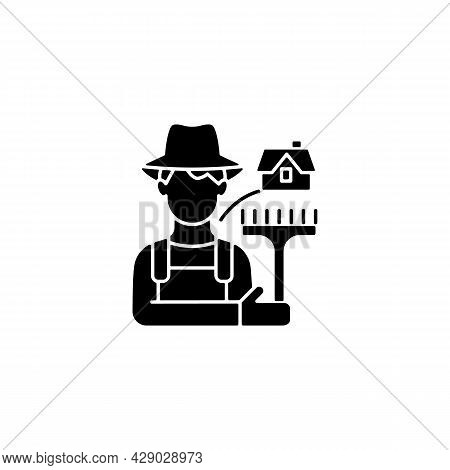 Rural Workers Black Glyph Icon. Man Stands Near Barn. Labourer With Tool. Rural Area Life. Farmer In