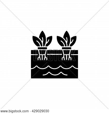 Hydroponics Black Glyph Icon. Grow Plants Without Soil. Farming Herbs And Vegetables In Water. Use N