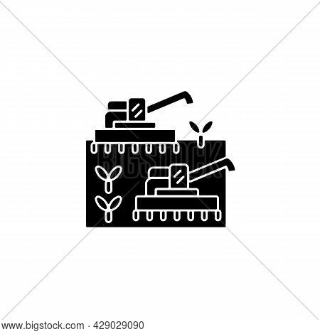 Mechanized Agriculture Black Glyph Icon. Using Of Equipment And Implement. Agricultural Technology.