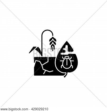 Production Risks Black Glyph Icon. Risk Management In Agriculture. Factors That Affect Quality And Q