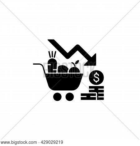 Marketing Risks Black Glyph Icon. Market Loss. Financial Failure. Consumer Preferences Affect Sales.