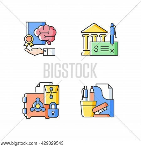Corporate Intellectual Property Rgb Color Icons Set. Bank Draft, Trade Secrets. Company Safety. Risk
