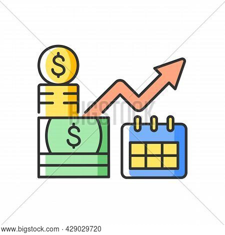 Long Term Investment Rgb Color Icon. Financial Planning And Goals Achievement. Capital Stock. Procee