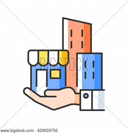 Building Ownership Rgb Color Icon. Real Estate Business. Private Property. Company Assets. Hand Hold