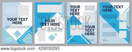 Blue Company Brochure Template. Corporate Info. Flyer, Booklet, Leaflet Print, Cover Design With Cop
