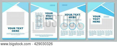 Geometric Turquoise Brochure Template. Flyer, Booklet, Leaflet Print, Cover Design With Copy Space.